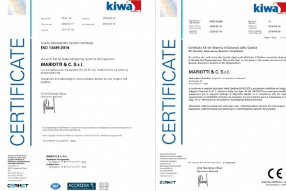 Renewed the certificates EC Medical Devices and Quality Management System